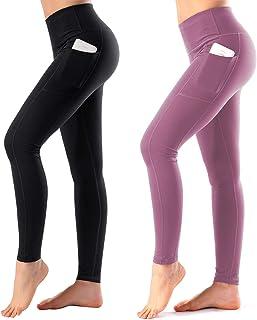 HOFI High Waist Yoga Pants with Side & Inner Pocket Sports Leggings Tummy Control, Pack of 2
