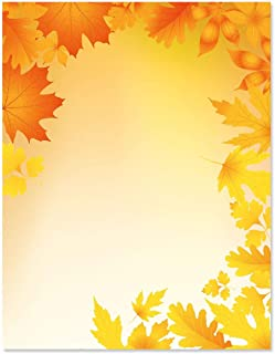 Autumn Leaves Fall Letter Papers - Set of 25, Thanksgiving Stationery Papers, 8 1/2