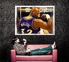 THE MAILMAN Karl Malone Painting Retro Vintage Art Muscles Utah Jazz 47x35 Huge Giant Poster Print