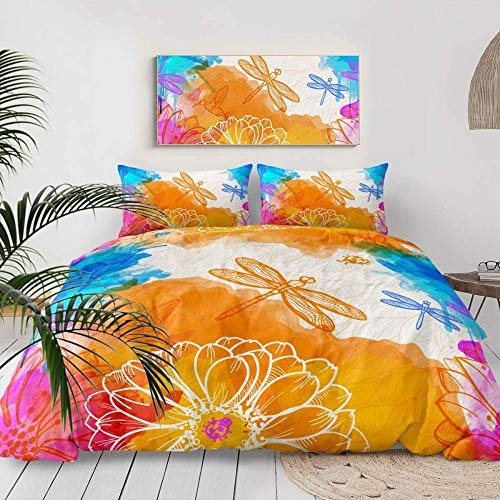 Dvvseso Bedding Set Animal insect watercolor golden light dragonfly Bed Linen Duvet Cover Set Pillowcase Single Double Queen King Size(Super King size 260 x 230 cm) -Duvet cover girl bedding