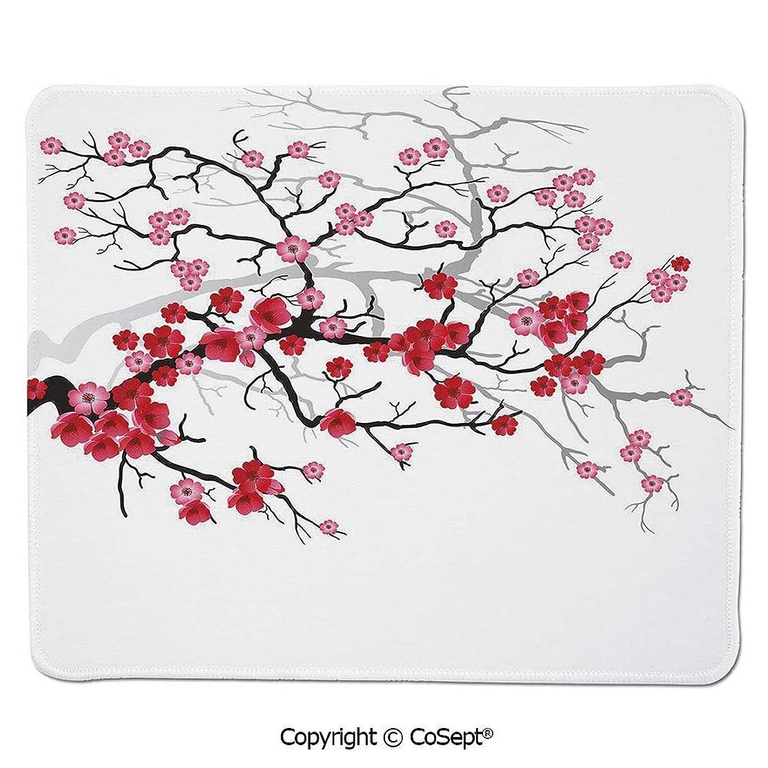 Non-Slip Rubber Base Mousepad,Japanese Plant Sakura Flower with Abstract Backdrop Art,for Laptop,Computer & PC (15.74