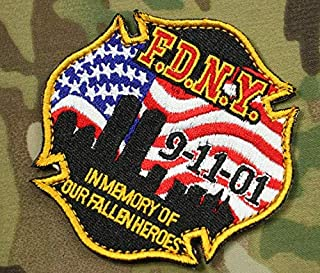 F.D.N.Y. Military Patch Fabric Embroidered Badges Patch Tactical Stickers for Clothes with Hook & Loop