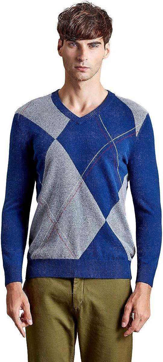 zhili Men's Slim Fit V-Neck Pullover Cashmere Sweater
