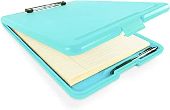 """Slim Plastic Nursing RN Style Coaches Clipboard with Open Foldable Storage, Classroom Teacher College Size (9.5"""" x 13.5"""") ..."""