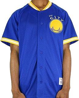 Mitchell & Ness Golden State Warriors Seasoned Pro Men`s Button Up Jersey Shirt