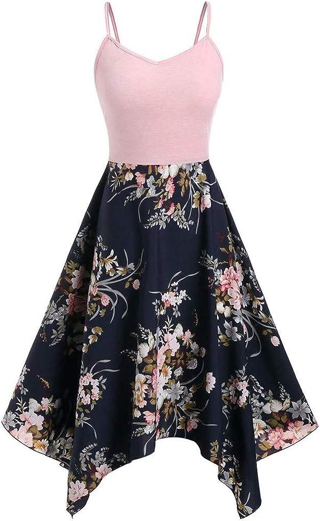 NREALY Vestido Womens Plus Fresno Mall Size service Fashion Print Asymmetric Floral