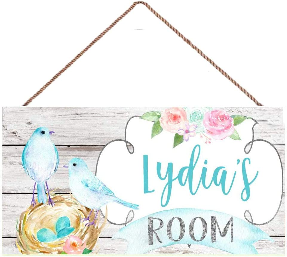 TOPYUN Floral Birds Atlanta Mall High quality new Sign Personalized Ro Bedroom Kids Signs Name
