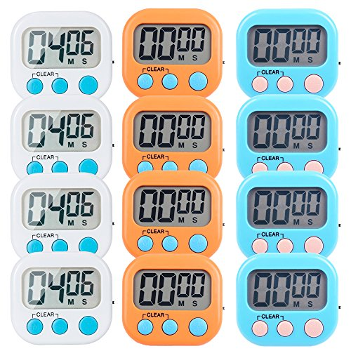 12 Pack Small Digital Kitchen Timer Magnetic Back and ON/Off Switch,Minute Second Count Up Countdown(White,Blue,Orange)