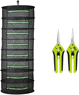 Active Gear Guy 8-Layer Enclosed Hanging Mesh Dry Rack for Herbs, Buds, and Fruit with Two Trim Scissors. One Straight Blade and One Curved Blade. for Gardens, Hydroponics, Orchards, and Grow Tents.