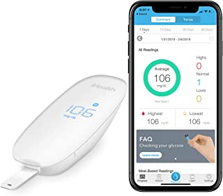 iHealth Wireless Smart Blood Sugar Test Kit for Apple and Android, Apple MFi Certified Bluetooth Blood Glucose Meter, Smart Diabetes Testing Kit Comes With Lancing Device ,10 Lancets and Carry Bag
