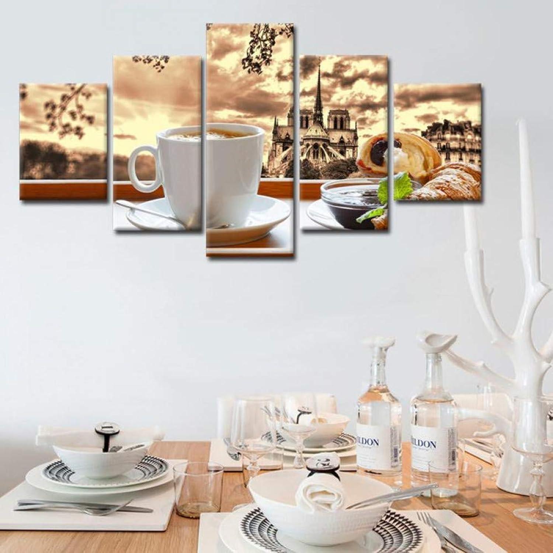 alta calidad y envío rápido YHEGV Impresiones en Lienzo Cocheteles de Lienzo Arte Arte Arte de la Parojo Marco HD Imprime imágenes 5 Piezas Café Comida Pinturas Cocina y Restaurante Decoración para el hogar  bienvenido a orden