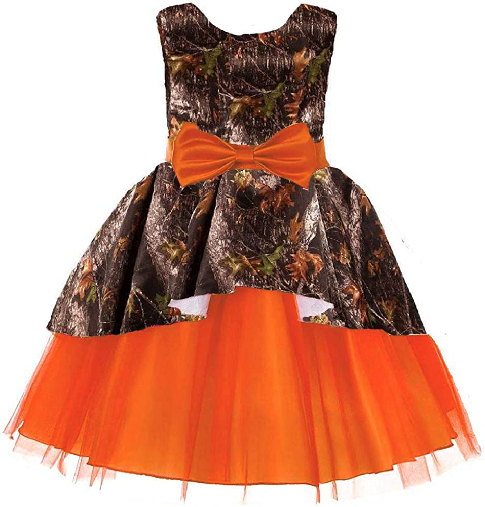 DINGZAN Puffy Tulle and Camo Flower Girl Pageant Dress Little Bridesmaid Gowns