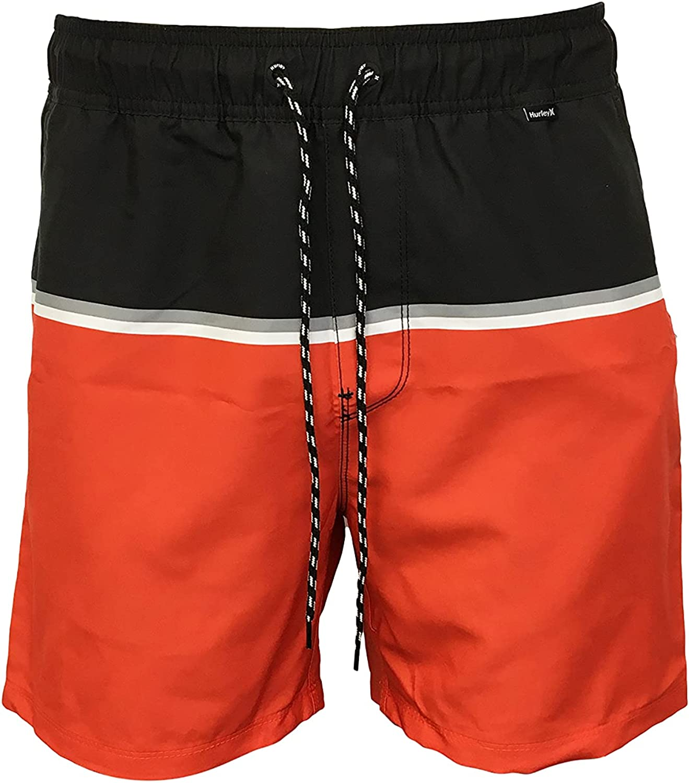 Hurley Men's Swim Trunks/Board Shorts 100% Polyester Blocked Volley 17