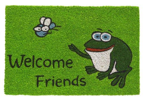 HMT 147412 Welcome Friends Design-Felpudo 40 x 60 cm Coco de Rana Verde