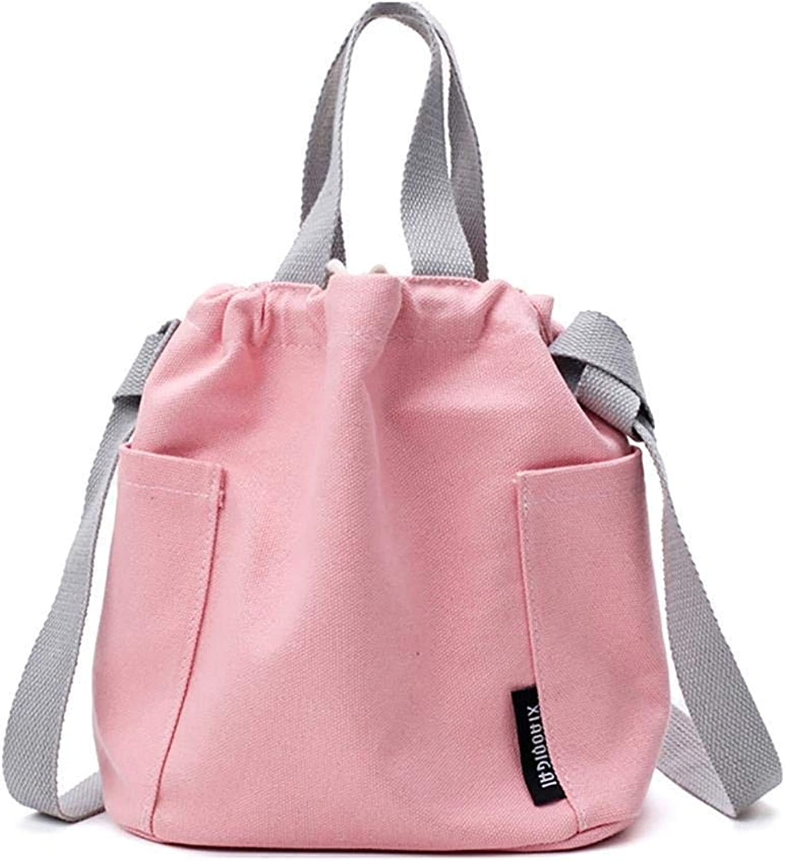 Bloomerang Casual Multifunction Women Handbag Solid Canvas Crossbody Shoulder Bag for Girls Ladies Teenagers Travel Drawstring Bag Sac color Pink