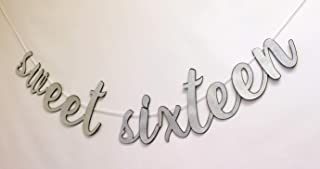 All About Details Sweet Sixteen Cursive Banner, 1set, 16th Birthday Banner (Black & Silver)