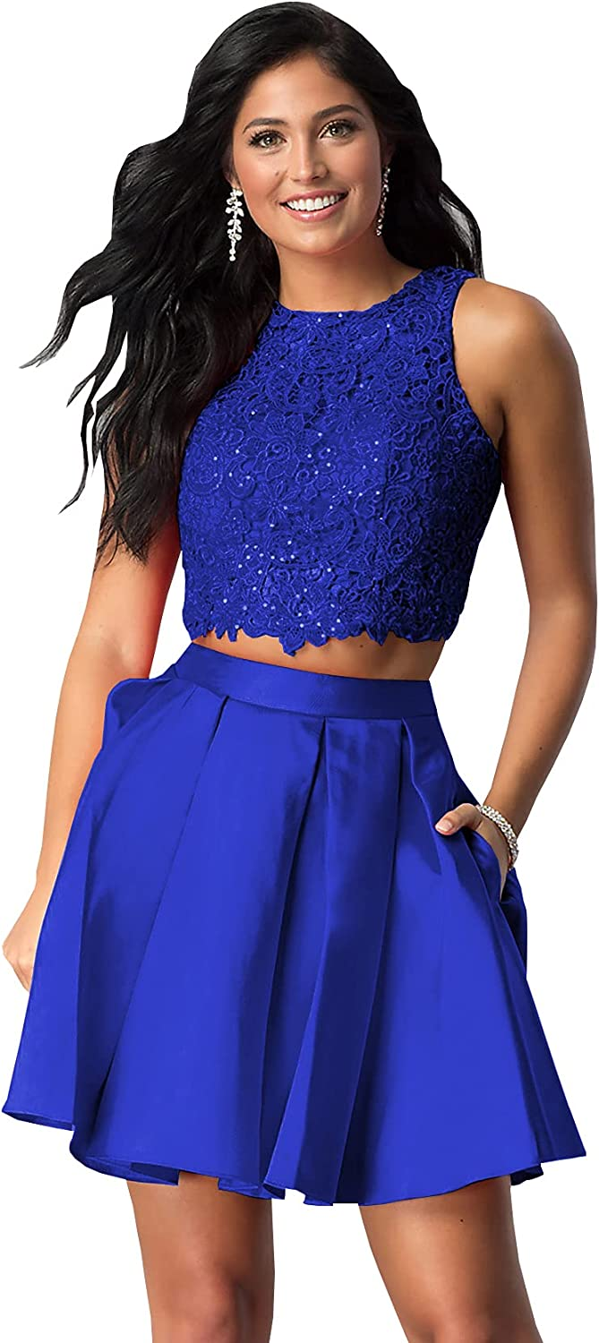 Women's Two Piece Short Lace Homecoming Dress Ball Gown Sleeveless Satin Prom Party Dress with Pockets