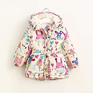 Nobrand Thicken Girls Winter Coats Graffiti Girls Overcoat Hooded Baby Kids Outerwear Cute Lovely Cartoon Printed Girls Warm Jackets