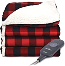 Sunbeam Electric Throw - Reversible Imperial Plush with Sherpa - Premium Sherpa and Ultra Soft with 3 Heat Settings and 3 Hour Auto-off, Plaid Red and Black on White Sherpa, 50 x 60