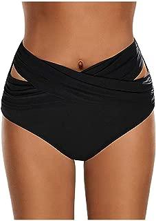 WENPINHUI Women High Waist Ruched Bikini Bottoms Tummy Control Swimsuit Bottoms Briefs Pants Black Hollow Out Bathing Suit Bottoms (Color : Black, Size : L)