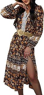 OrientalPort Abito da donna a maniche lunghe, con scollo a V, stampa floreale, elegante, stile boho, da festa, casual, da ...