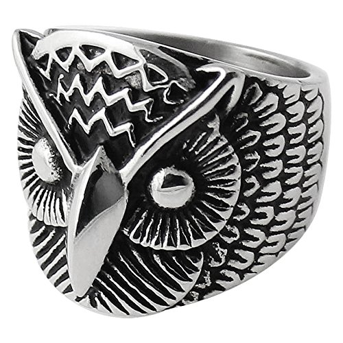 AZARIO LONDON Vintage Owl Face Stainless Steel Biker Men Finger Ring - Size 12 (Size Y)