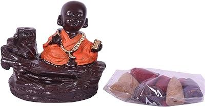 Collectible India Polyresin Monk Buddha Smoke Backflow Cone Incense Holder, Medium, Multicolour, 1 Piece