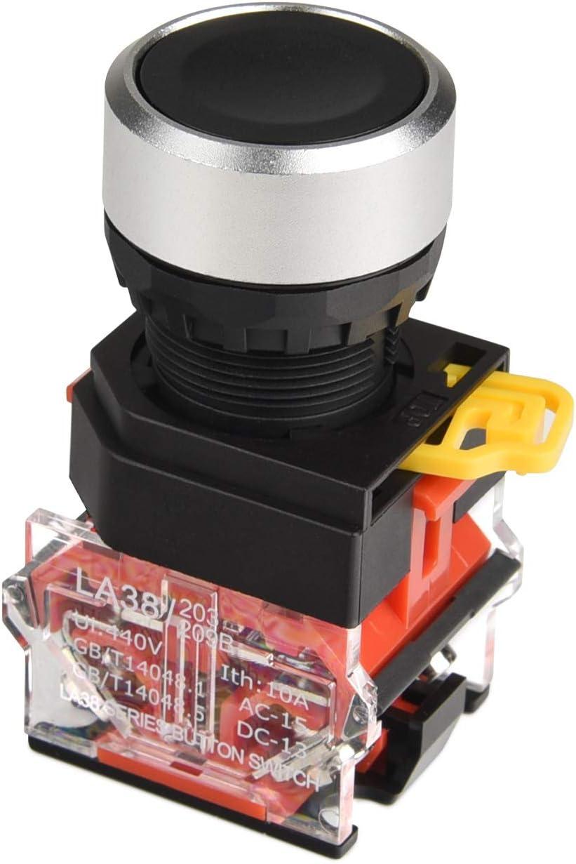 APIELE 22MM Momentary Push Button Switch 1NO 1NC Metal Head LA36A-11BN-BLK Green Black