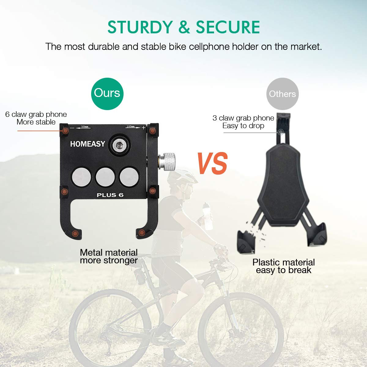 Holds Phones from 3.5-7 Wide【Fall Prevention】 XR Galaxy S9 8 Fits iPhone Xs|XS Max 8 Plus HOMEASY Universal Bike Phone Mount Motorcycle Handlebar Cellphone Bicycle Holder Adjustable X
