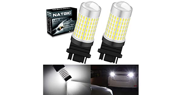 NGCAT 3157 3057 3156 T25 Super Bright LED Bulbs 2PCS 1500 Lumens 3014SMD 144-EX Chipsets with Lens Projector Automotive Exterior Turn Signals Back Up Reverse Lights Tail Lights,Xenon White 12-24V
