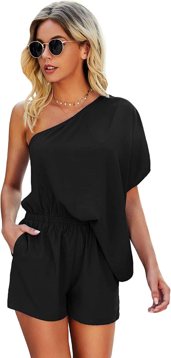Ranking integrated 1st place SheIn Easy-to-use Women's One Shoulder Batwing Romper Wais High Sleeve Short