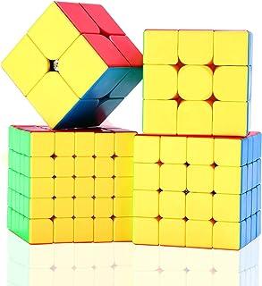 Mumoo Bear Moyu Cube Set, 2x2 3x3 4x4 5x5 Stickerless Bright Magic Cube Smooth Puzzles Cube Set with Gift Packing