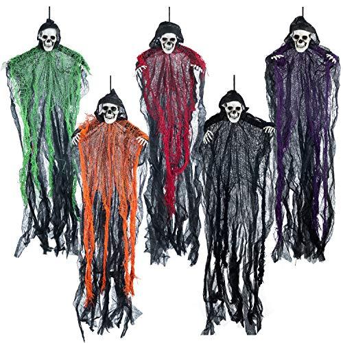 70 cm Halloween Parcas de Esqueleto Colgantes (5 Pack), Decoración de Fantasmas Colgantes de Halloween, Accesorios de Casa Embrujada al Aire Libre