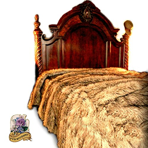Affordable Premium Plush Faux Fur Bedspread/Light Golden Wolf XL King Size/Coyote Bear Skin (XLKing ...