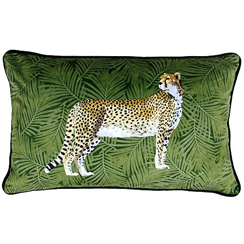 Riva Paoletti Cheetah Forest Cushion Cover - Green - Palm Leaf Design - Velvet Feel Fabric - Piped Edges - Machine Washable - 100% Polyester - 30 x 50cm (12' x 20' inches) - Designed in the UK