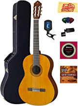Yamaha C40 Nylon String Acoustic Guitar Bundle with Hardshell Case, Tuner, Instructional DVD, Strings, Pick Card, and Polishing Cloth
