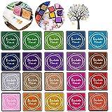 Queta Juego de tampones de Tinta, 20 Colores, para Sellos, Tarjetas de Color y niños