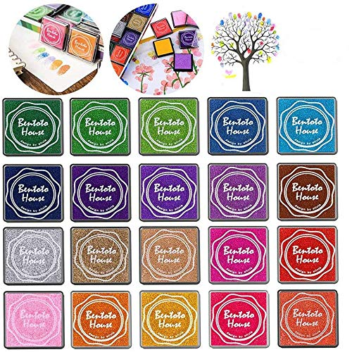 Queta Stempelkissen Set, 20 Farben Stempelkissen Fingerabdruck Set für Stempel Partner Color Card Making und Kids DIY Scrapbooking, 20 Pack