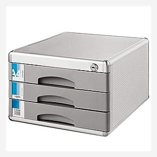 Classeurs Fichier Bureau Cabinet en Alliage d'aluminium 3 Couches Boîte de Rangement Tiroir verrouillables Accueil Bureau ...