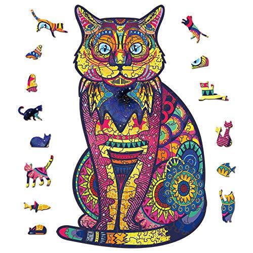 PrettyGift Puzzle de Madera Puzzle de Garfield, Puzzle de Colorido de Forma única Puzzle Animales para Adultos y Niños Colección de Juegos Familiares