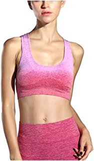 ZYDP Women's Seamless Sports Wirefree Bra High Impact Full Support Racerback Workout Gym Activewear Bra (Color : Rose red,...