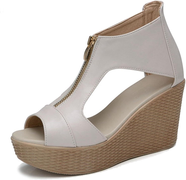 GIY Women's Platform Wedges Cutout Side Peep-Toe Zipper Ankle Bootie Sandals