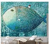 Rureng Venta Al Por Mayor De Peces De Hadas Océano Azul Color Fondo De La Pared Poster Mural Wallpaper Para Sala De Estar Dormitorio Descuento-450X300Cm