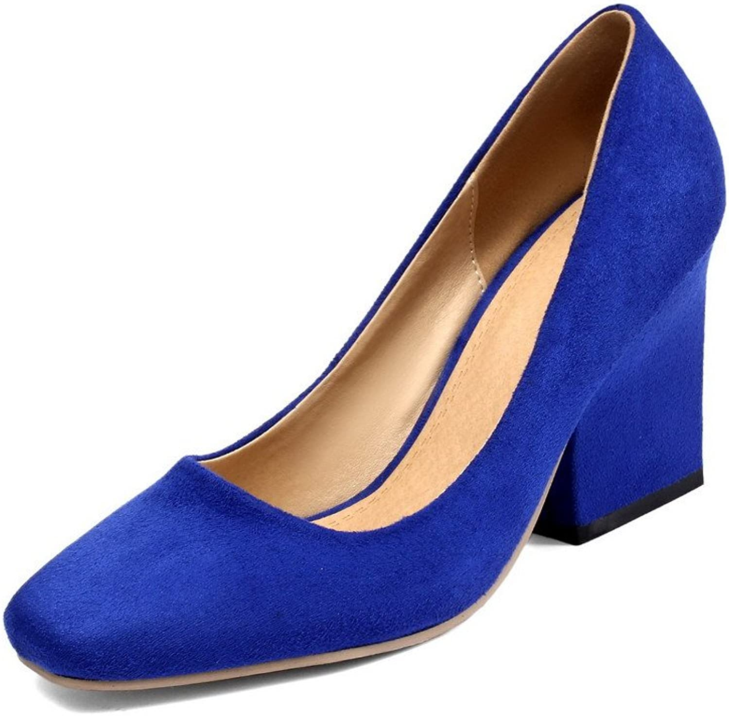 AllhqFashion Women's Solid Frosted High Heels Pull On Square Closed Toe Pumps shoes