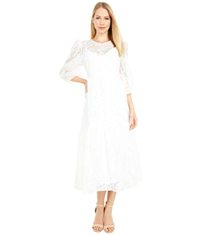 WAYF Channing Tie Back Tiered Midi Dress (Ivory Burnout Organza) Women