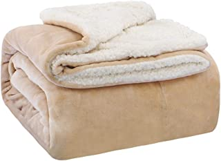 EMME Sherpa Fleece Blanket Reversible Warm Cozy Microfiber Soft Plush Throw Blanket, Fuzzy Blanket Ultra Luxurious Plush Blanket for Bed Couch Sofa Outdoor Travel (Tan, 60