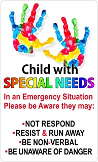 Autistic Child Emergency DECAL non-magnetic! Magnet America