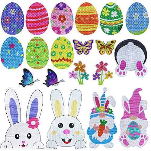 20Pcs Spring Easter Bunny Gnomes Reflective Car Magnets Set - Easter Decorations - Easter Eggs Bunny Gnomes Flowers Butterfly Magnets Stickers for Car Refrigerator Garage Door