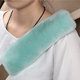 Natural Fur Eco-Friendly Comfort Authentic Fluffy Sheepskin Car Seat Belt Pads, Soft Texture Shoulder Neck Cushion Pad, Genuine Australia Merino Wool Seat Belt Cover (Mint Green)