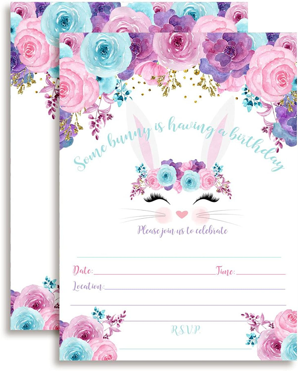 Bunny Face with Pink bluee and Purple Watercolor Flowers Easter Birthday Party Invitations for Girls, 20 5 x7  Fill in Cards with Twenty White Envelopes by AmandaCreation